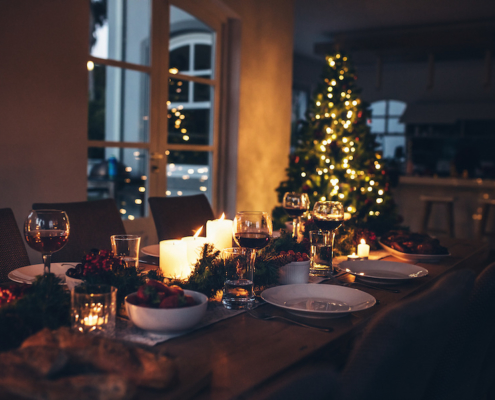 Dining table set for Christmas dinner