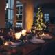 Dining table set for Christmas dinner
